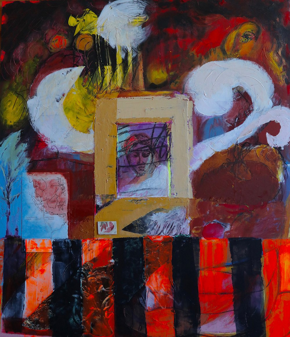 Refugee Oil Paint Cold Wax and Collage on paper on paper Valerie Kullack Australian Visual Art Bangalow